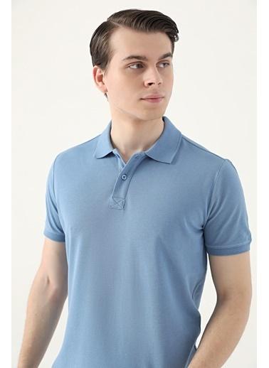 D'S Damat Regular Fitpike Dokulu T-Shirt Mavi